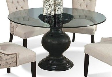 Antique Black Pedestal Dining Table Glass Round Dining Table