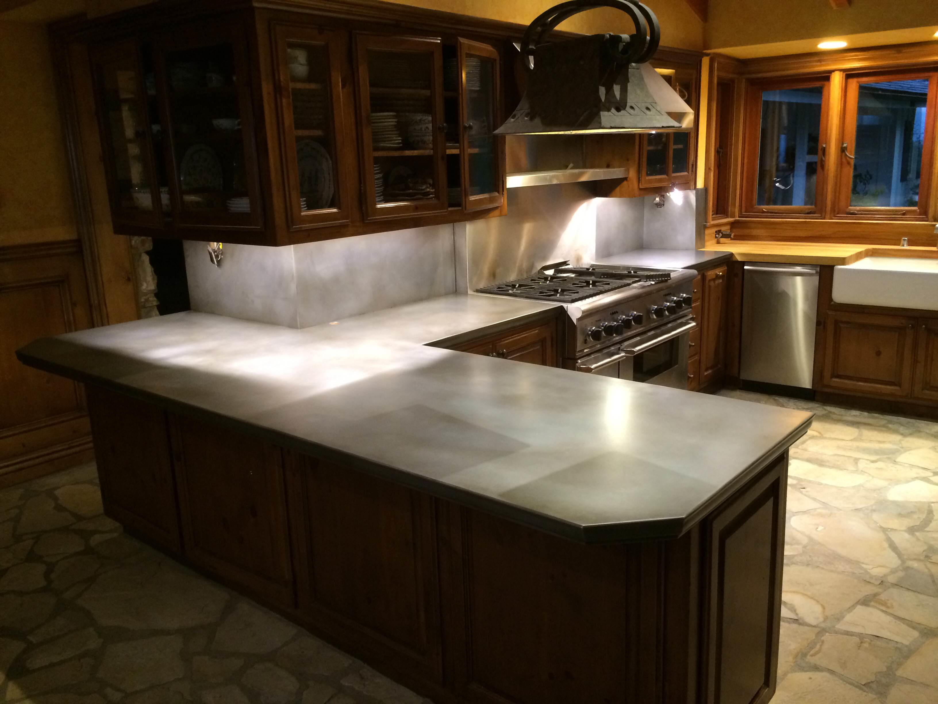 - Zinc Countertop And Backsplash #RHEINZINK Bright Rolled Zinc