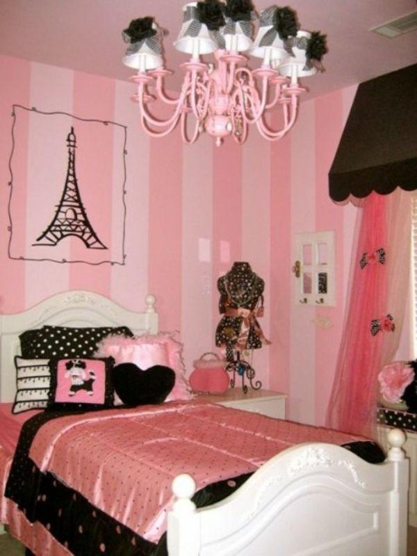 Mädchen Zimmer Rosa Streifen Wand Deko