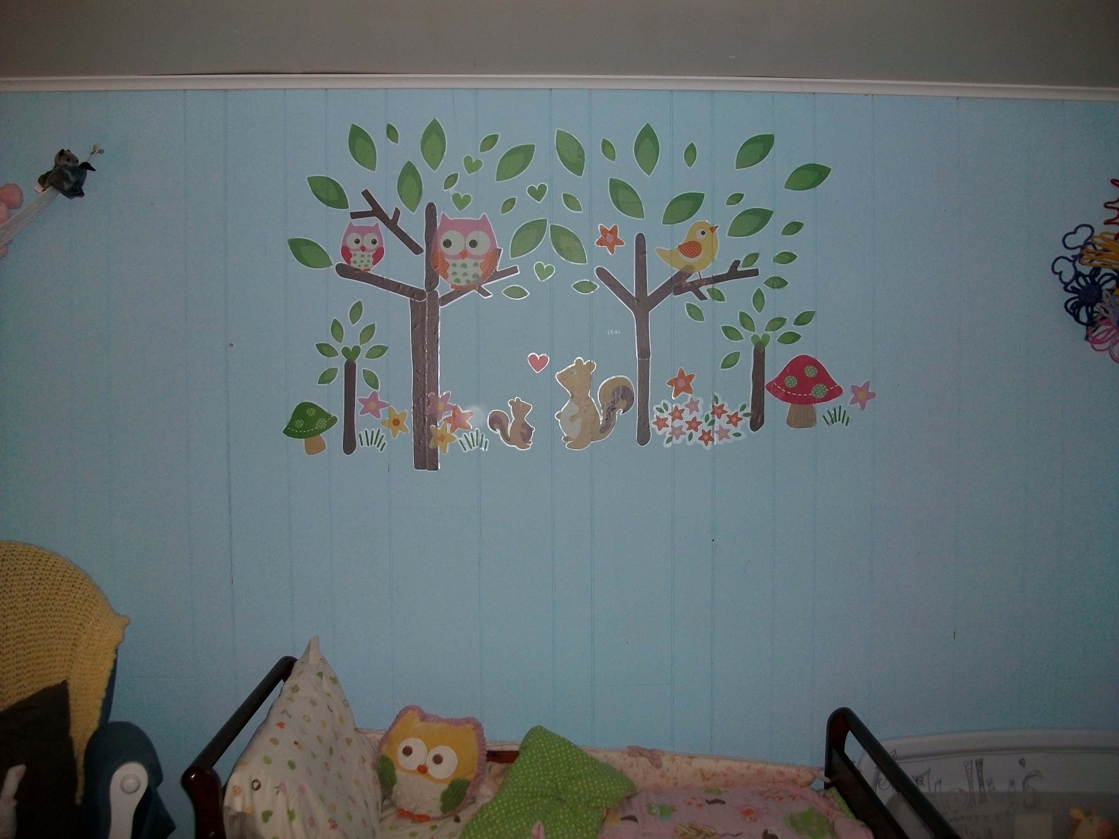 Target love and nature decals, I made my own scene above my daughter's toddler bed.