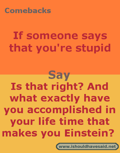 Latest Funny Comebacks What to say when someone calls you stupid   I should have said Comebacks when someone says that you're stupid. Check out our top ten comeback lists at www.ishouldhavesaid.net. 10
