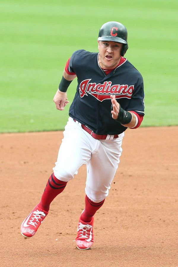 Cleveland Indians Daniel Robertson Heads For 3rd Base On The Jose Ramirez Single Against The Lo Cleveland Indians Baseball Cleveland Baseball Cleveland Indians