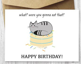 Printable Cat Birthday Card Happy Birthday Cat Digital