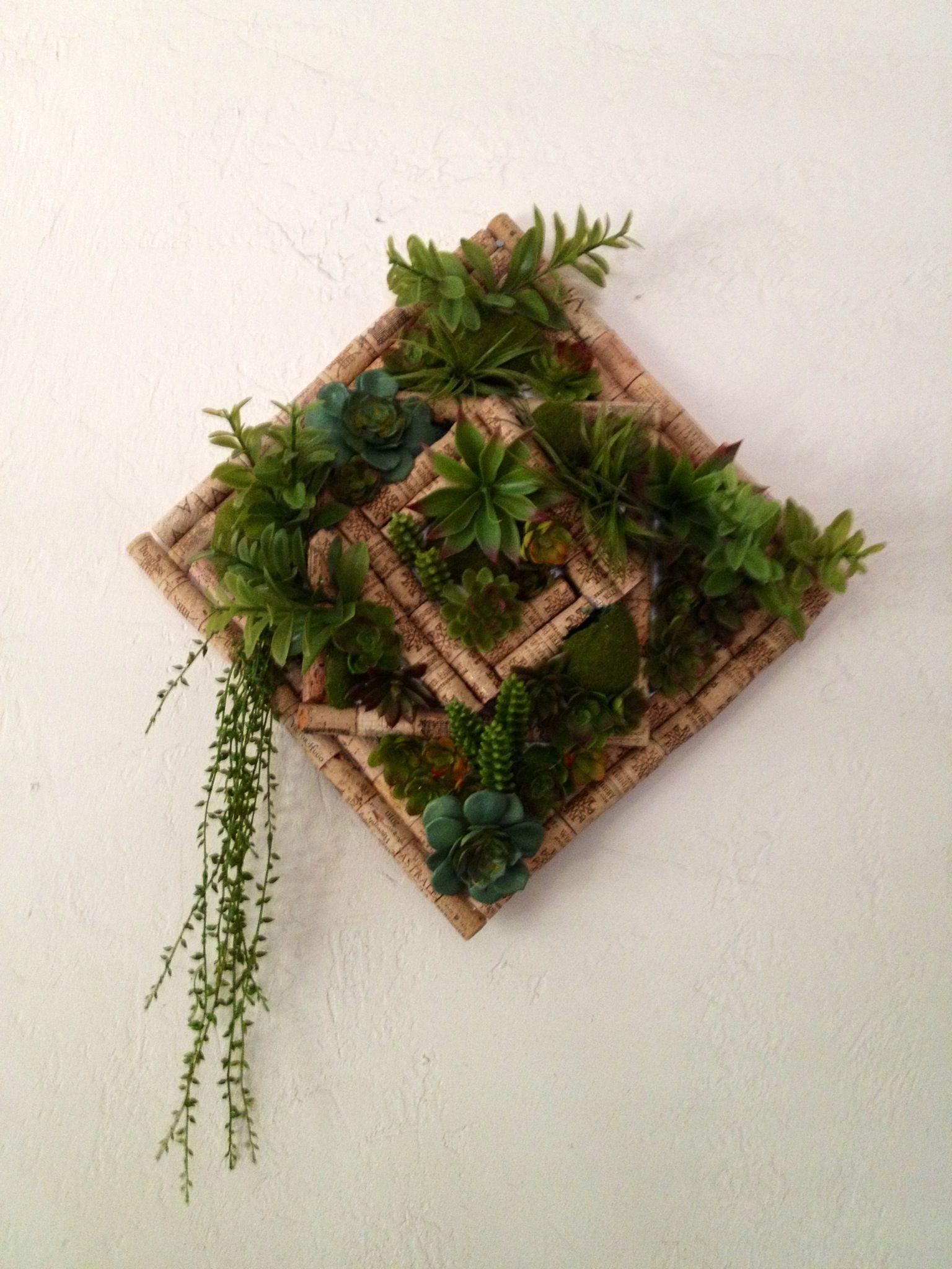 Faux succulent garden in wine cork frame. Cork art, folk ...