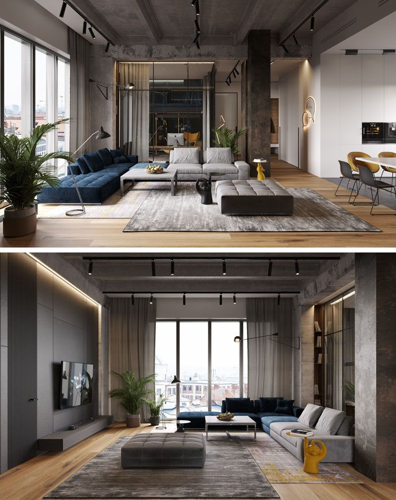 A Glass Wall Separates The Living Room From The Home Office In This Modern Loft Apartment Living Room Loft Modern Loft Apartment Interior Design Living Room Modern