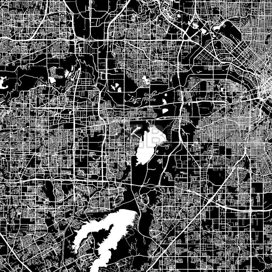 Grand Prairie, Texas, downtown map, dark | Grand prairie texas ...