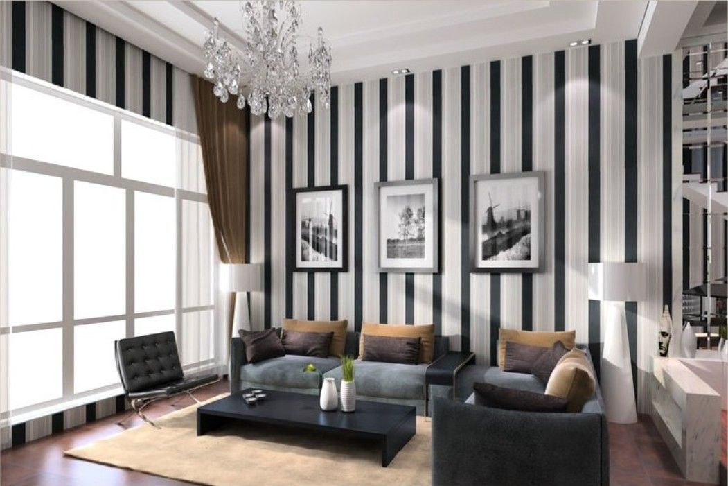 Living room design ideas of black and white vertical stripes wallpaper wall inspiration for Striped wallpaper living room ideas