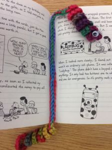 """We are celebrating """"March is Reading Month"""" at my school. I made up these Bookworm Bookmarks to use as prizes! Here is the super easy pattern: Click here for printable version. Materials: yarn (any..."""