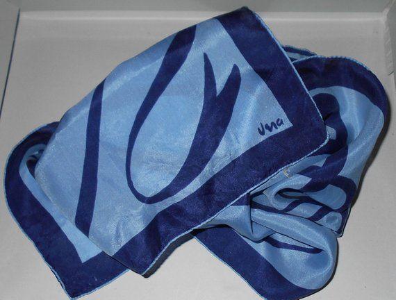 48ca711c5583c VERA rare 1950s scarf blues ribbon design pure silk Patent Pending Free USA  shipping