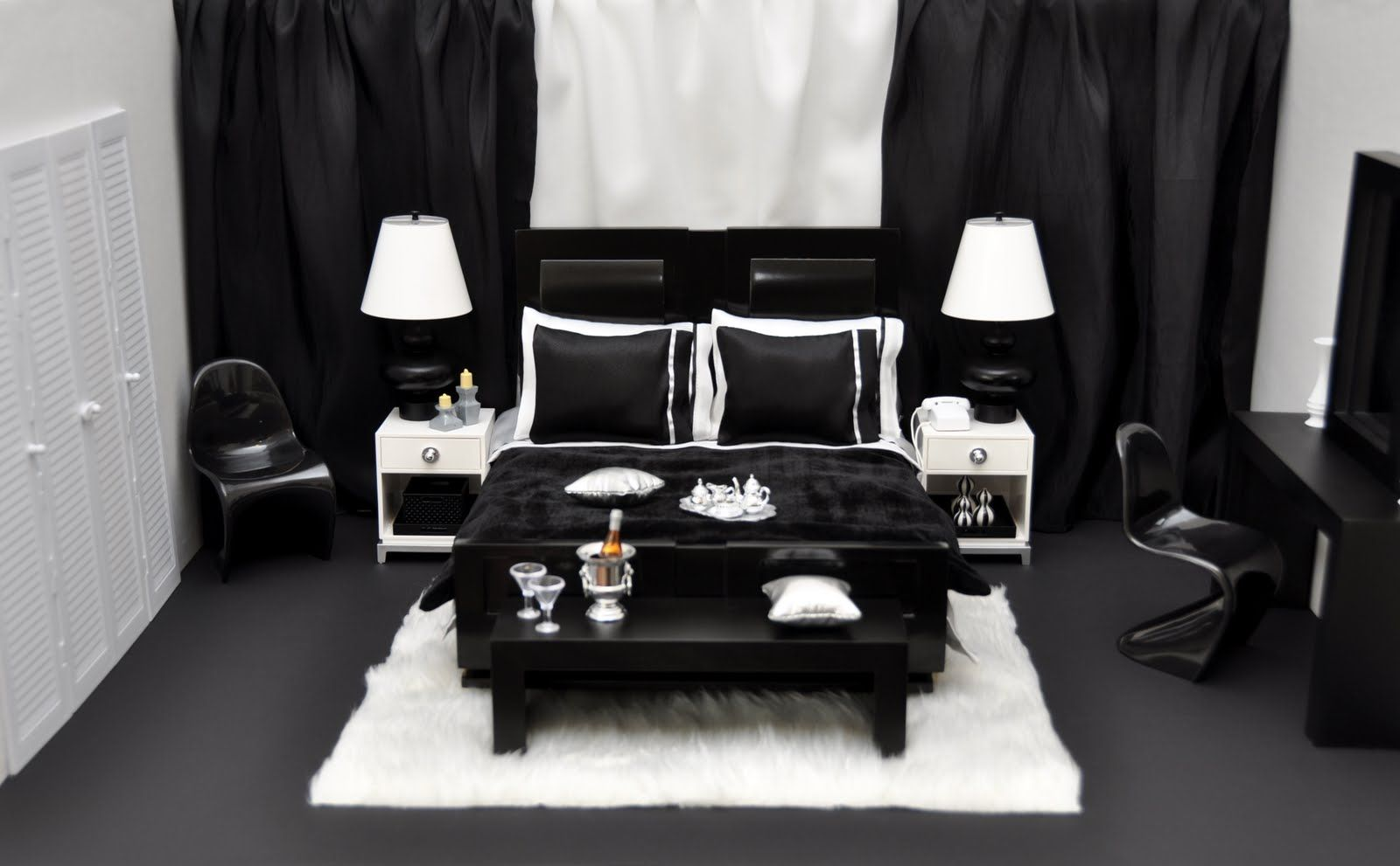 The Fashion Doll Chronicles Tatiana S Doll House The Bedroom Black And White