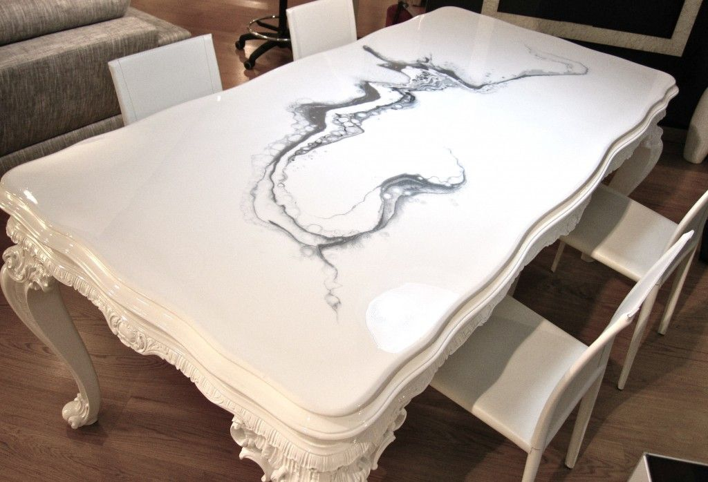 Tavolo Antico Bianco.Top Tavolo Antico Restaurato E Resinato Con Autolivellante