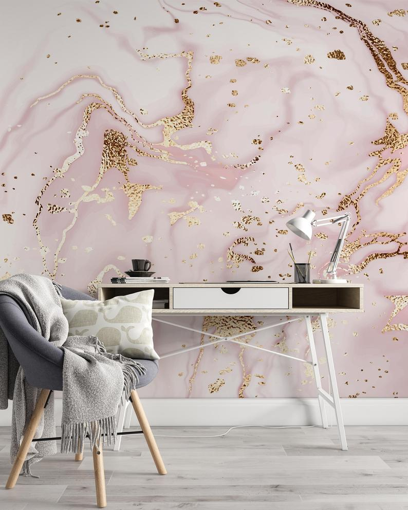 Liquid Texture Light Pink Abstract Marble Painting Wallpaper Etsy Pink And Gold Wallpaper Rose Gold Wall Paint Gold Painted Walls