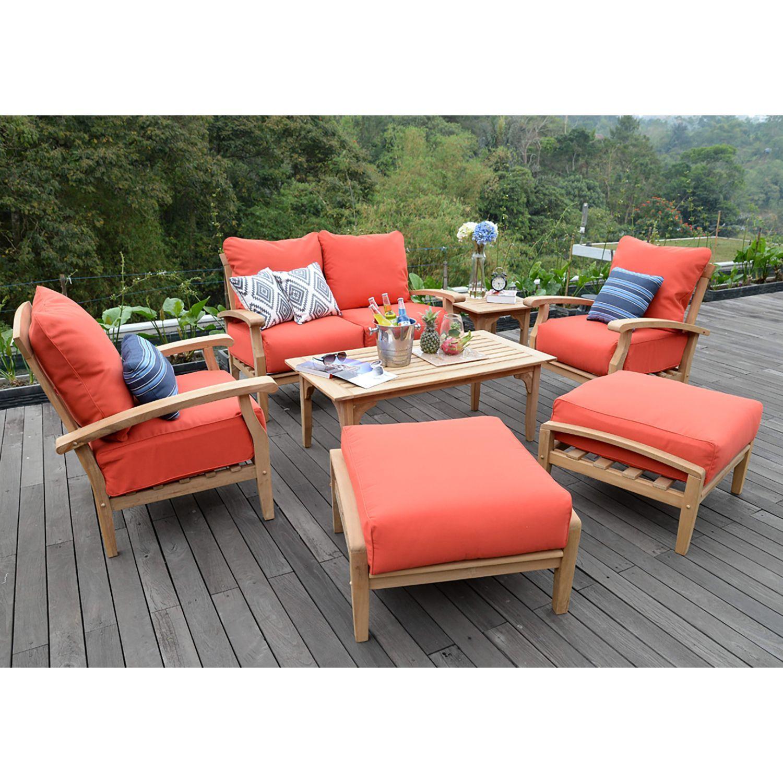 teak outdoor 7 pc patio seating set