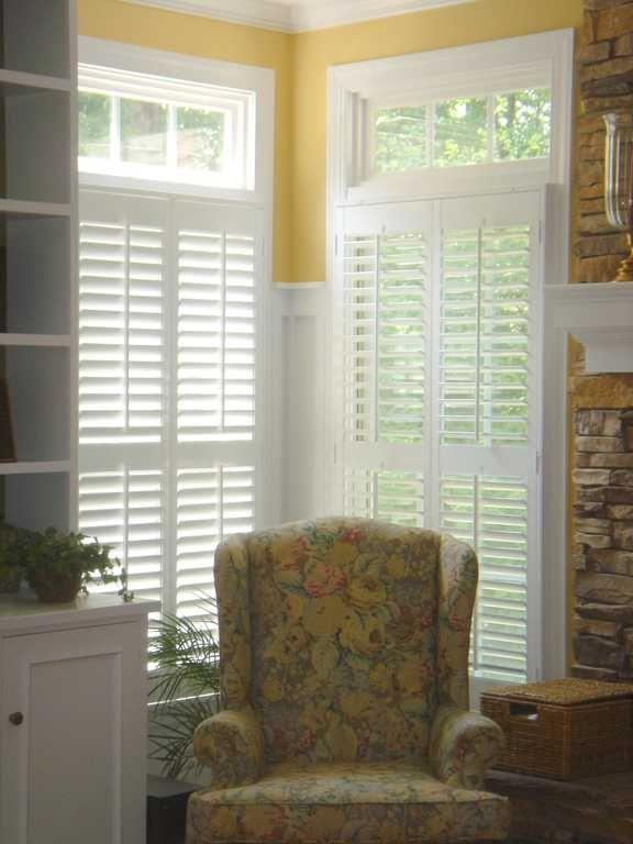 Shutters White Wood Open Transom Living Room Interior