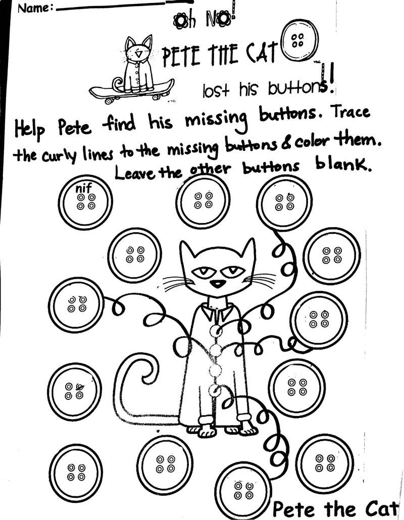 worksheet Pete The Cat Worksheets pete the cat and his four groovy buttons buscar con google google