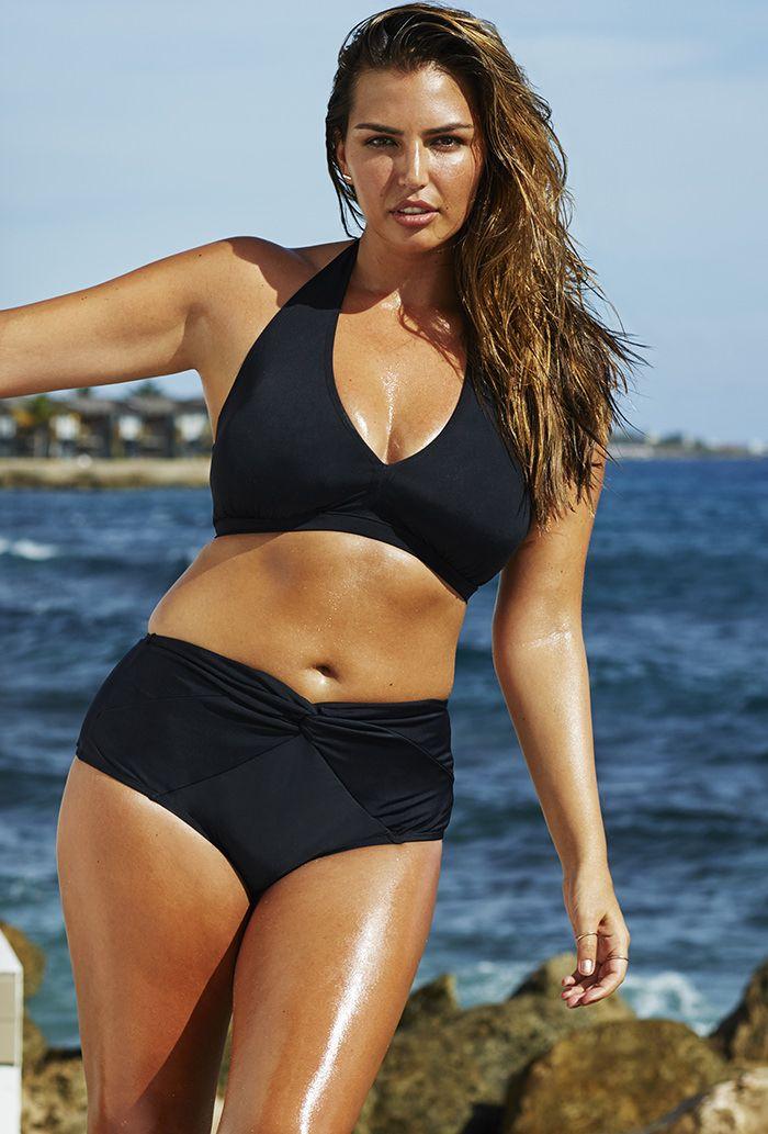 69f57844a92 Swim Sexy Jet Black Halter Twist Front Bikini