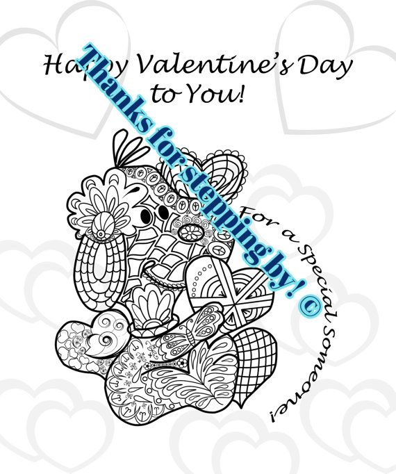 Valentine's Day Printable  Postcard Coloring Page by KreativStyler