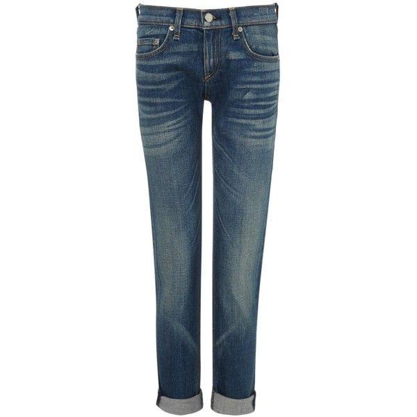 Rag & Bone Bradford Dre Slim Boyfriend Jeans ($110) ❤ liked on Polyvore featuring jeans, blue, super stretch jeans, slim fit boyfriend jeans, rolled up jeans, stretch boyfriend jeans and blue jeans