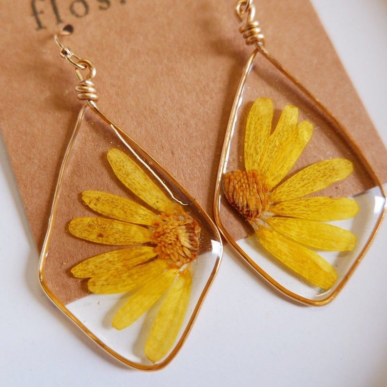 Photo of Yellow Daisy Pressed Flower Earrings, Natural Style Earrings, Resin Earrings, Dramatic Earrings, Drop Earrings, Gift For Her