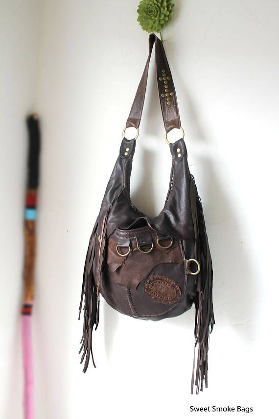 11513d3792 Dark brown leather pirate style bag hobo bag fringe hobo unique ...