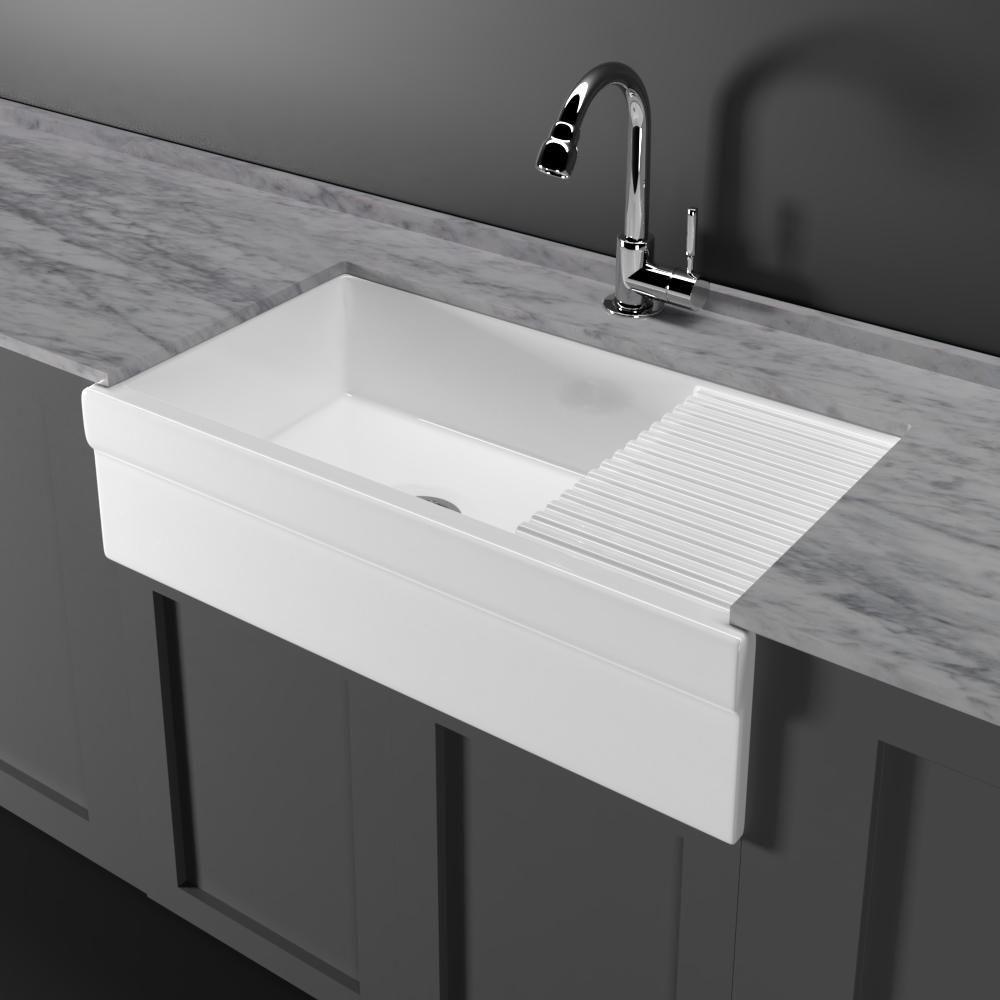36 Inwood Fireclay Single Bowl Farmhouse Sink With Drainboard Drainboard Sink Farmhouse Sink Farmhouse Sink Kitchen