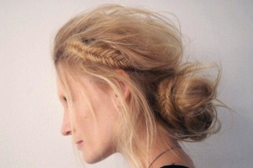 unkempt updo with fishtail braids