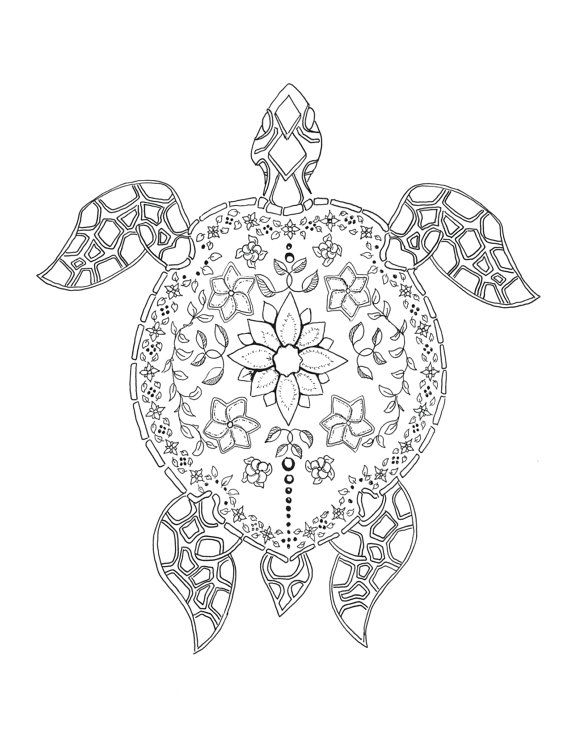 Aloha Coloring In Island Time Coloriage Tortue Coloriage Mandala Animaux Tortue Dessin