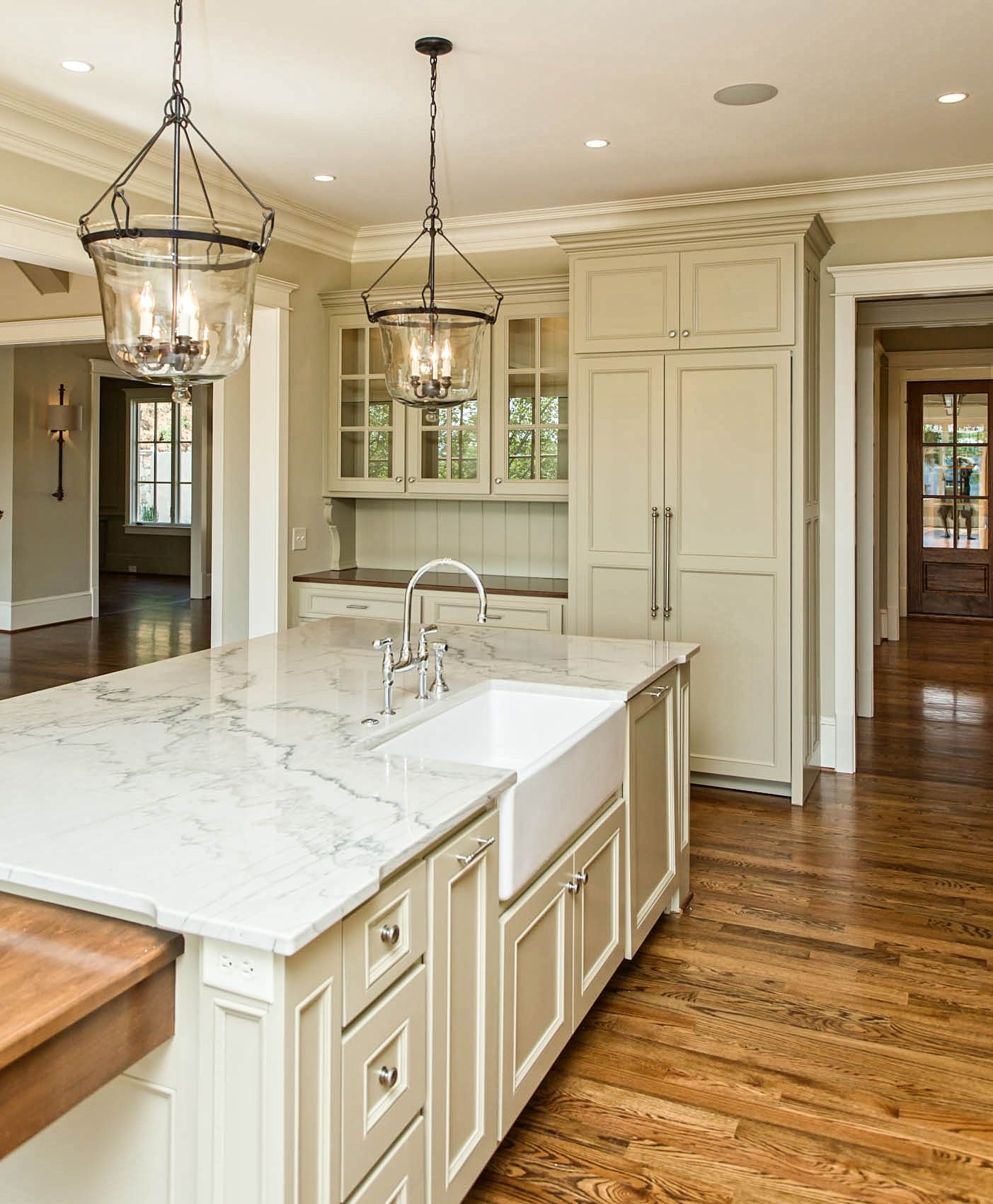 Upper Kitchen Cabinet Decorations: Antique White Kitchen With Marlbe Countertops And