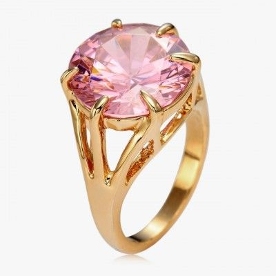 pink cubic zirconia ring gold