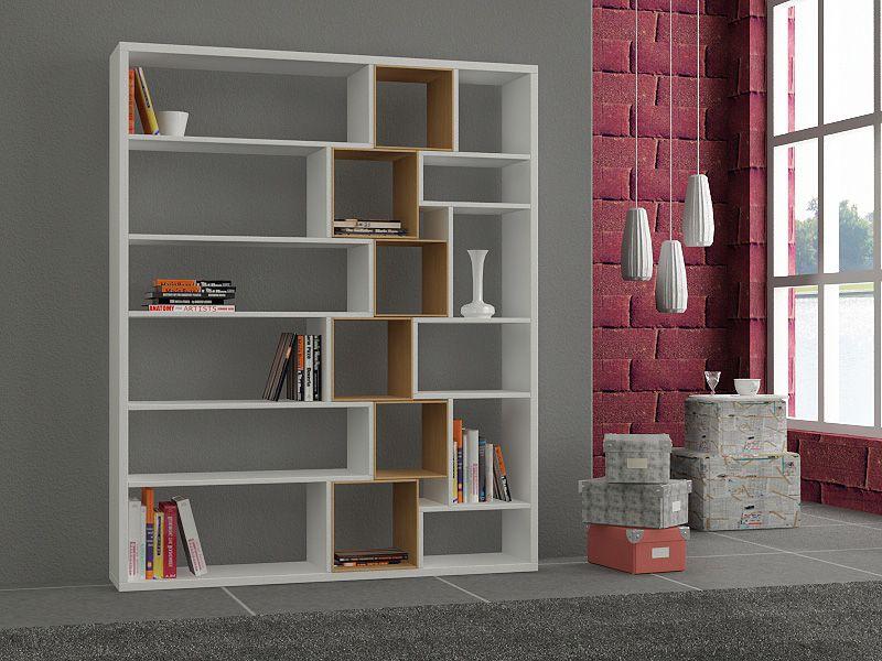 Librero blanco y madera libreros chillan pinterest - Libreros de madera modernos ...