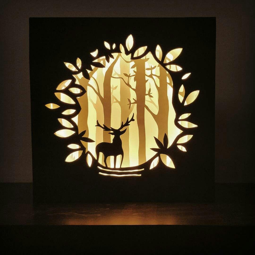 Paper Craft Led Lighting Night Lamp Harry Potter 3d Paper Art Paper Cutout Art Shadow Box Art