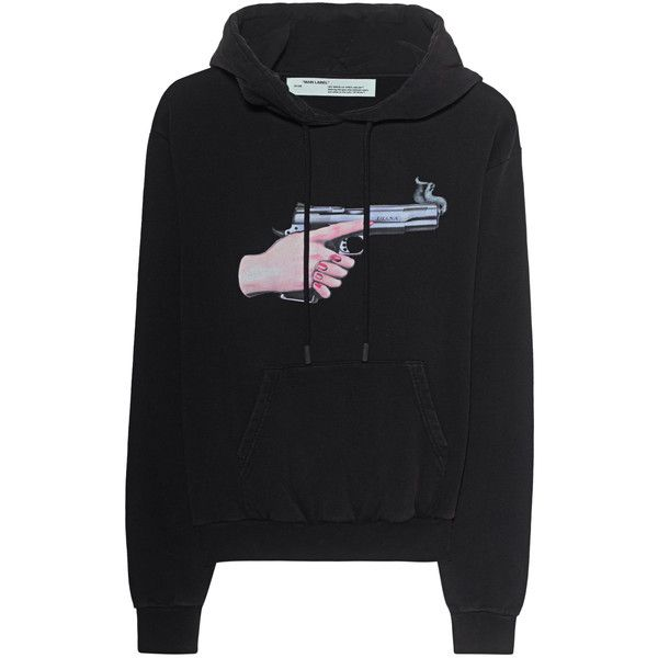 aeb85ec6b4d7 OFF-WHITE C O VIRGIL ABLOH Diag Hand Gun Black    Cotton hoodie with ...