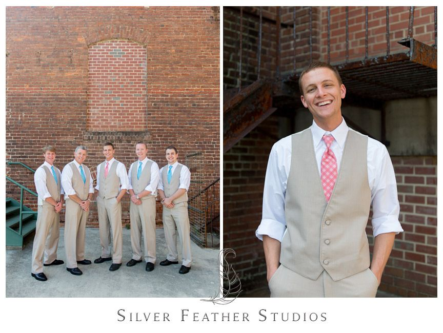 beige suits with coral ties at the cotton room in durham north carolina silver