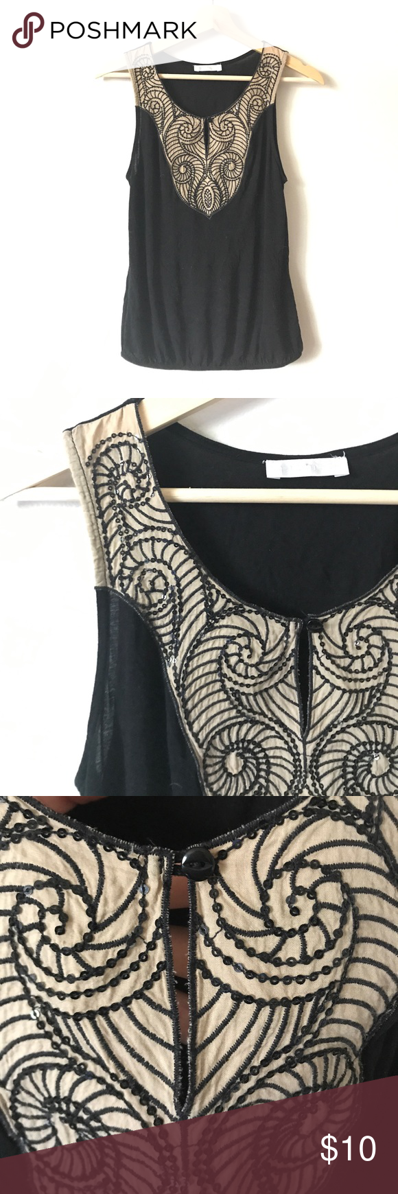 fc413ad4a61de Promod Black Tank w  embroidered bib Black tank top blouse from Promod.  Elastic around