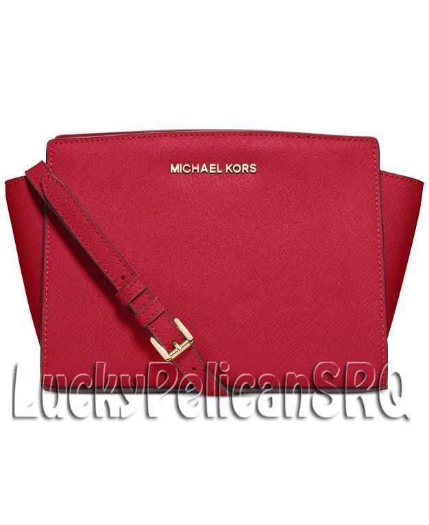 0e700997f26 MICHAEL KORS Selma Medium Saffiano Leather Messenger Crossbody Bag Chili  Red NWT #MichaelKors #MessengerCrossBody
