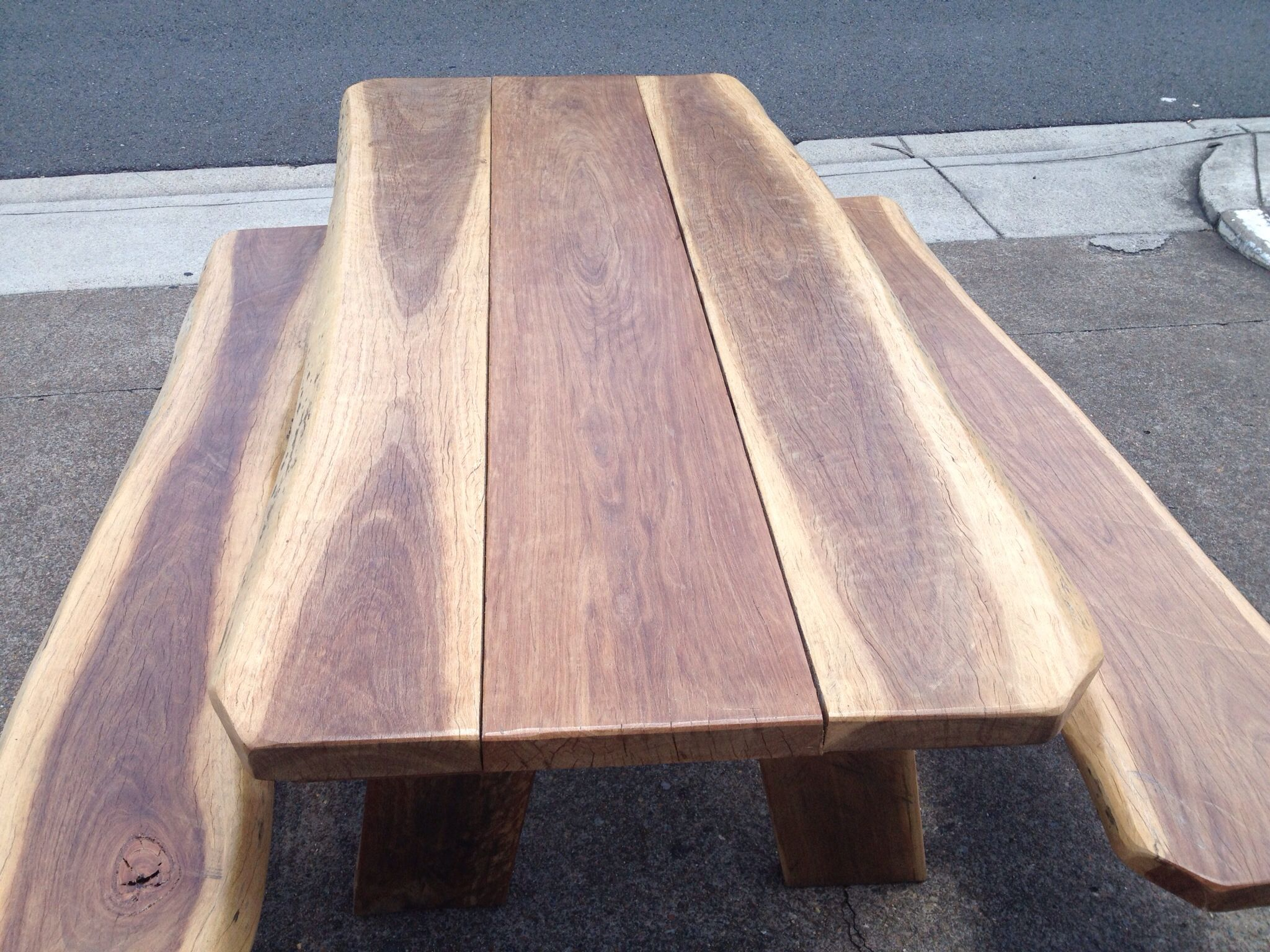 Rustic Hardwood Slab Picnic Table made from durable Spotted