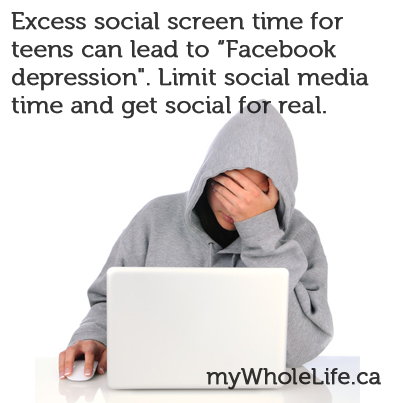 """Excess social screen time for #teens can lead to """"#Facebook #depression"""". Limit social media time and get social for real."""