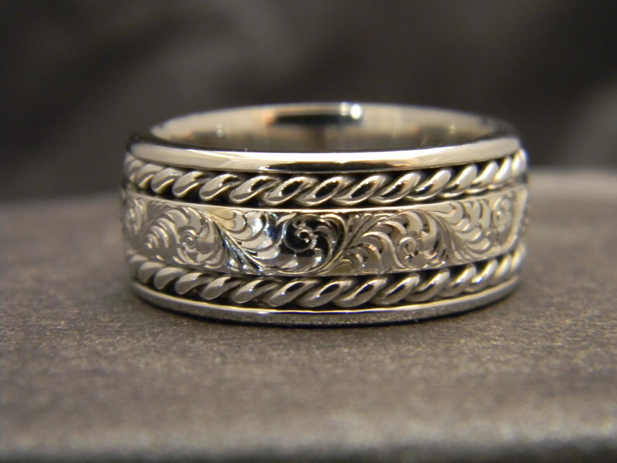 11mm 14K White Gold Jumbo Rope Ring with Fancy Scroll