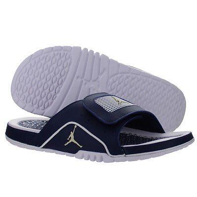 09e9f946f85d6c Nike Jordan Hydro IV 4 Retro Mens 532225-425 Navy Blue Gold Slide Sandals  Sz 11