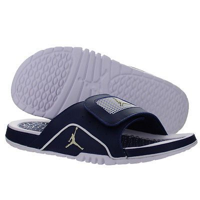 Nike Jordan Hydro IV 4 Retro Mens 532225-425 Navy Blue Gold Slide Sandals  Sz 11 14c9682d0