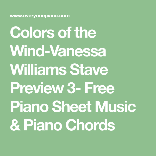 Colors of the Wind-Vanessa Williams Stave Preview 3- Free Piano ...