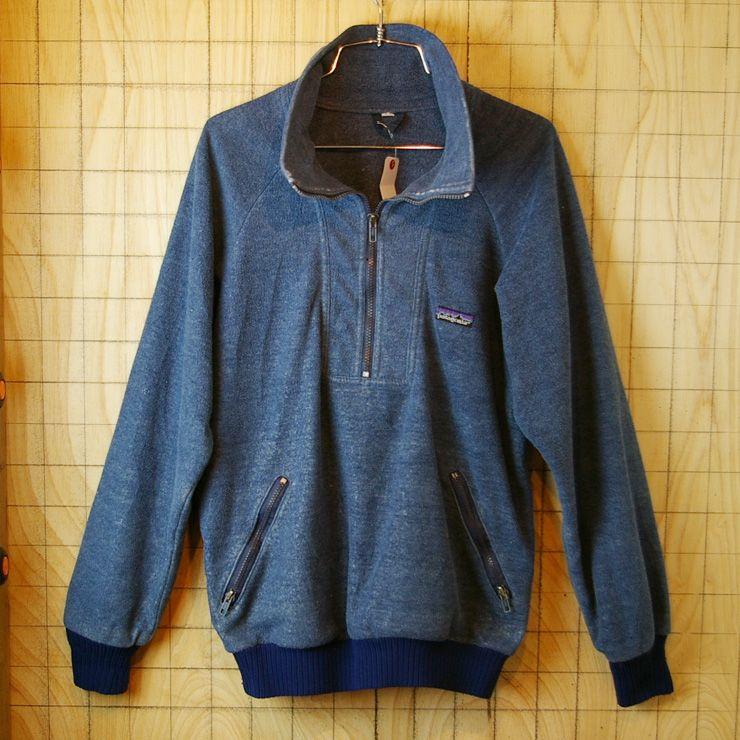 【patagonia】USA製80s古着ネイビーアウトドアRマークプルオーバーフリースジャケット【パタゴニア】
