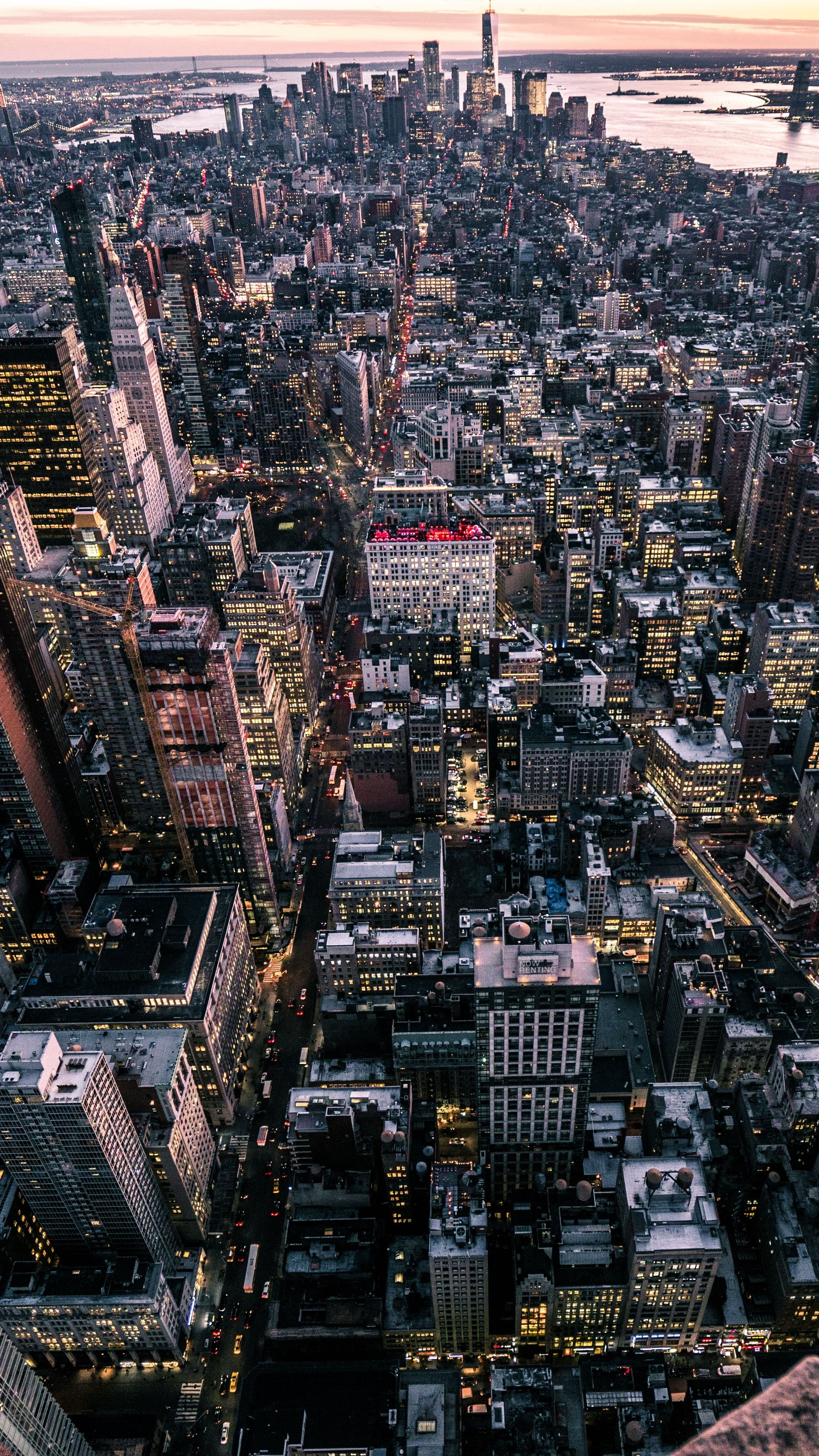 Places new york, usa, city, top view android wallpapers