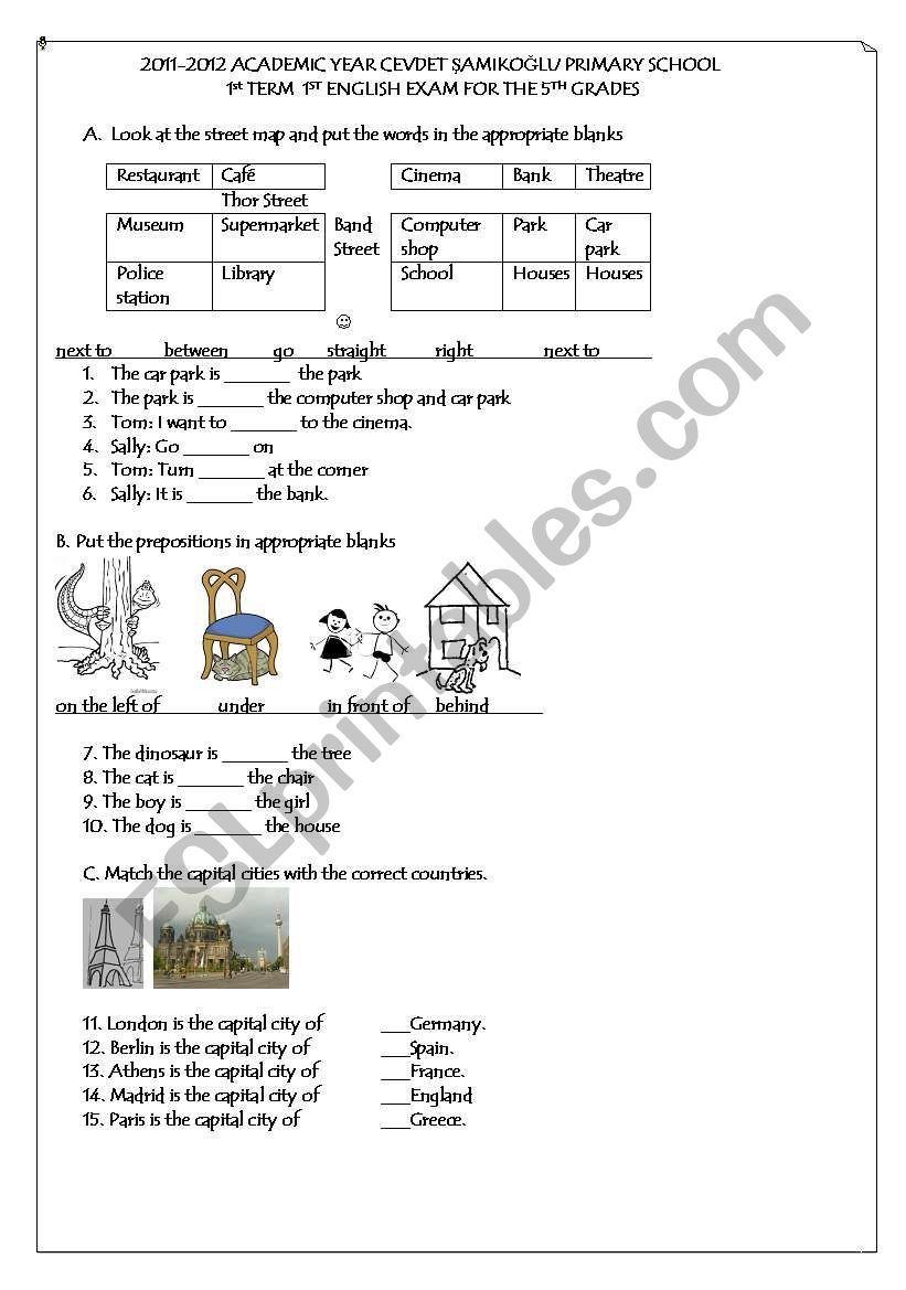5th grade 1st term 1st exam ESL worksheet by netameli in