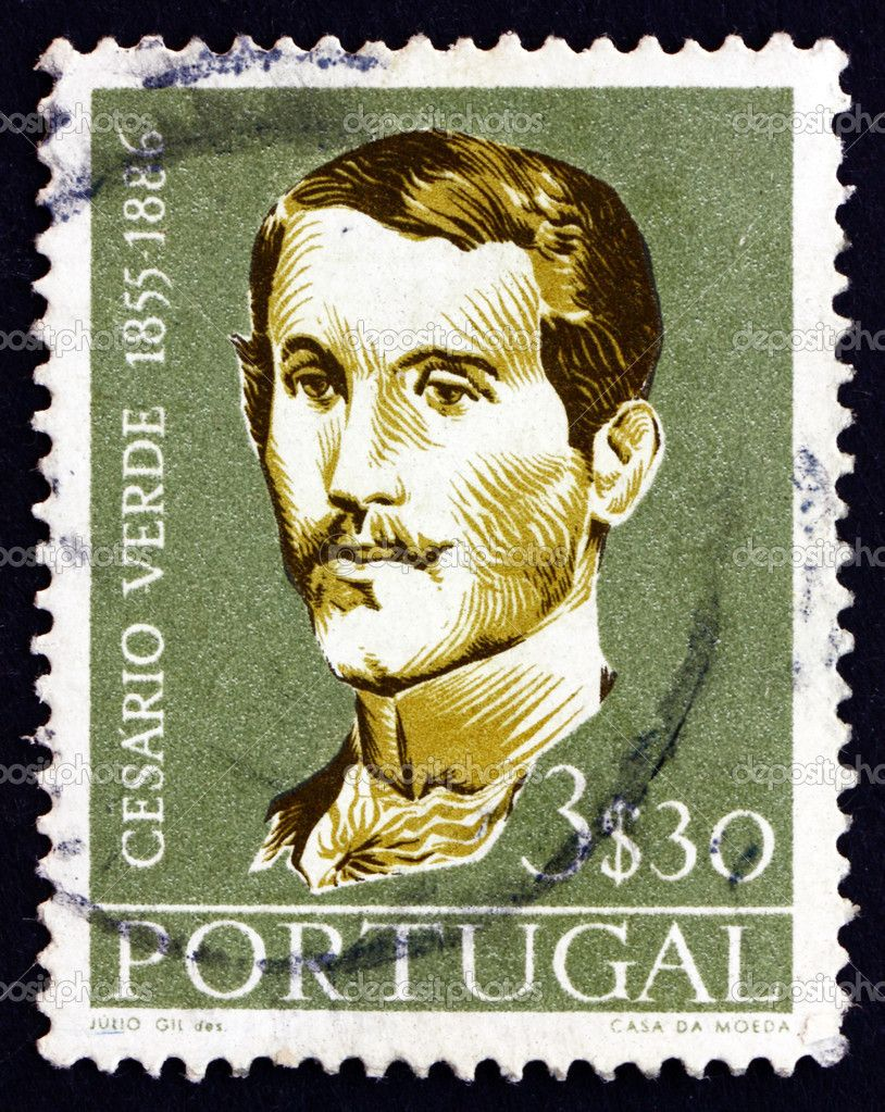 Portugal - cerca de 1957: um selo imprimido no portugal mostra José joaquim Cesário verde, poeta, circa 1957