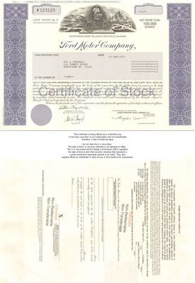 Ford Motor Company Collectible Auto Stock Certificate Ebay