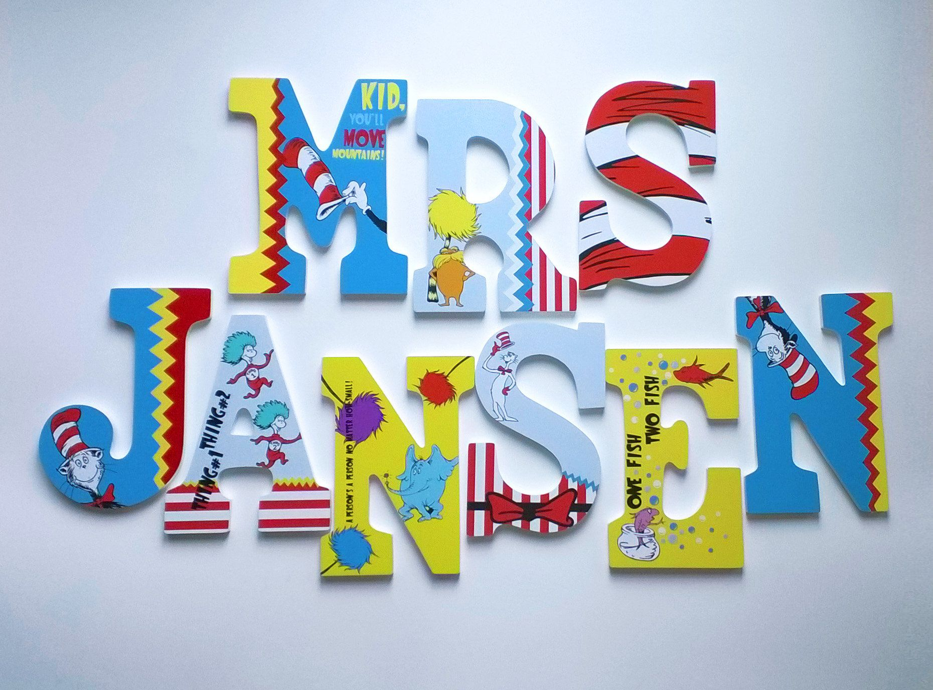 Dr Seuss Themed Personalized Custom Wood Letters To Spell