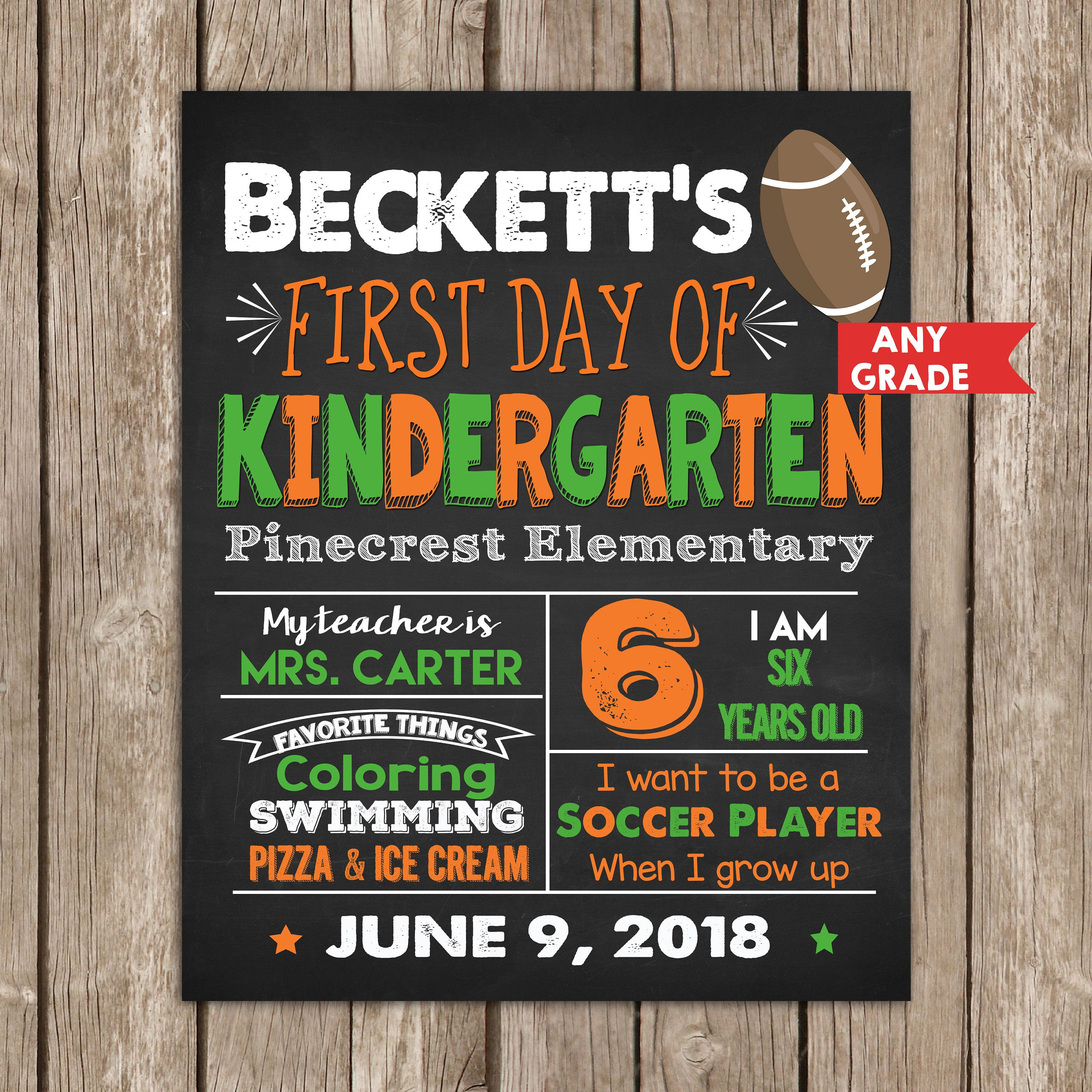 First Day of School Sign ANY Grade, First day of Kindergarten, Sports Chalkboard,Football Soccer, Back to School Sign, Photo Prop Printable #firstdayofschoolsign
