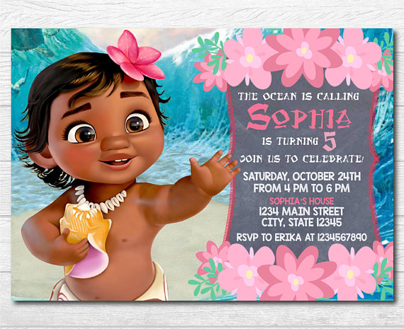 Baby Moana Invitation Template Free Happy Living