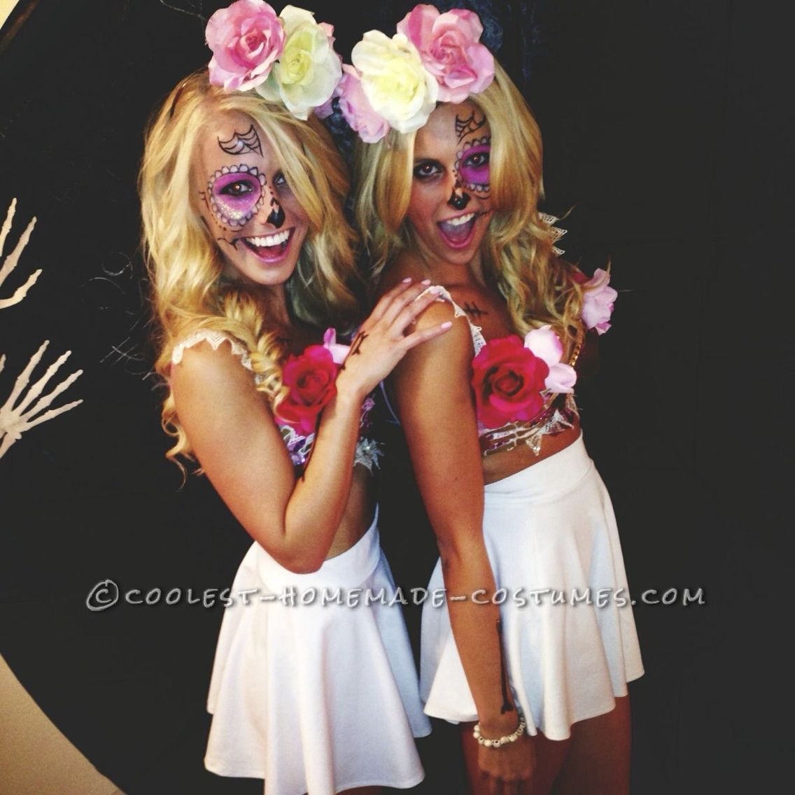 Halloween Costumes Ideas For This Sugar Skulls Cross Bone Blondes I Started With The Top Bra Went To Michaels And Got Fake Flowers In